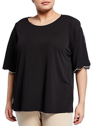 Iconic American Designer Plus Size Half-Sleeve Scalloped Trim Top
