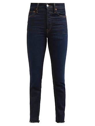 Re/Done Re/done Originals - Double Needle Slim Leg Jeans - Womens - Dark Denim