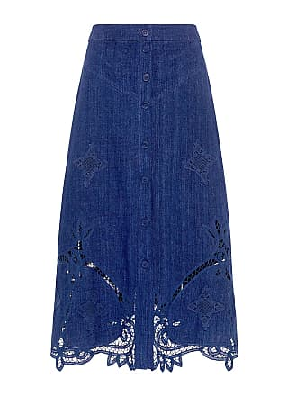 Sea New York Lace Eyelet A-Line Midi Skirt Indigo