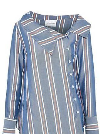 b9ba322b7e0 Nicholas Nicholas Woman Asymmetric Striped Tencel-poplin Shirt Blue Size 8