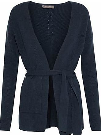 N.Peal N.peal Woman Belted Ribbed Cashmere Cardigan Storm Blue Size XL
