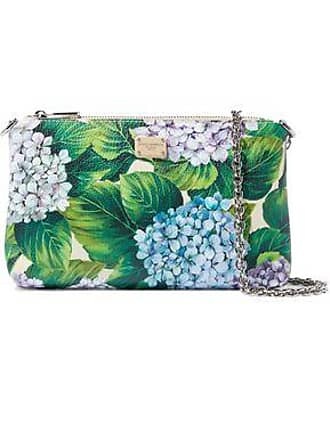 a32202509b28af Dolce & Gabbana Dolce & Gabbana Woman Floral-print Textured-leather Clutch  Green Size