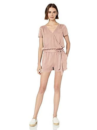 Daily Ritual Womens Tencel Short-Sleeve Wrap Romper, Light Pink, 16