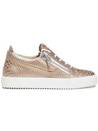 e4c0c62a76b2 Giuseppe Zanotti Giuseppe Zanotti Woman Snake-effect Leather Sneakers Rose  Gold Size 41