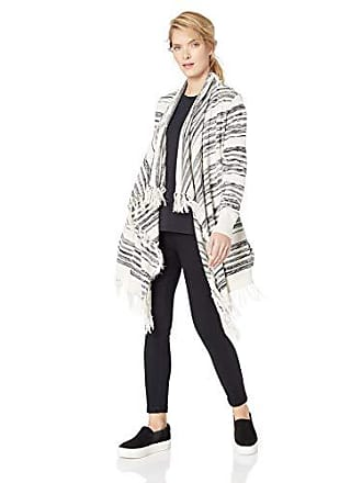 Chaser Womens Linen Sweater L/S Fringe Trim Drape Front Cardigan, Space dye, M