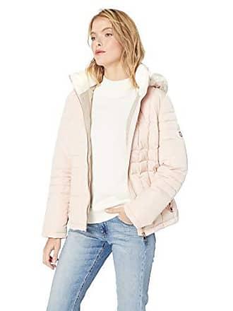 e7953add8 Calvin Klein Womens Box Quilt Faux Fur Trimmed Traditional Short Down,  Blush, S