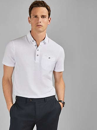 Ted Baker Textured Polo Shirt in White HUGHES, Mens Clothing
