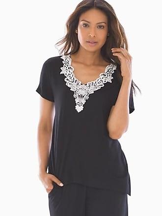 Soma Cool Nights Slub Crochet Sharkbite Short Sleeve Pajama Tee Black, Size XXL