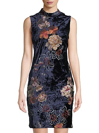 5twelve Mock-Neck Embroidered Velvet Dress