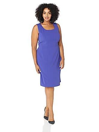 8b29ac4b8d Kasper Womens Plus Sleeveless Square Neck Drapey Crepe Dress with Seaming