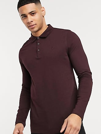 Burton Menswear long sleeve polo in burgundy-Red
