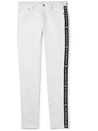 Givenchy Slim-fit Logo-jacquard Stretch-denim Jeans - White