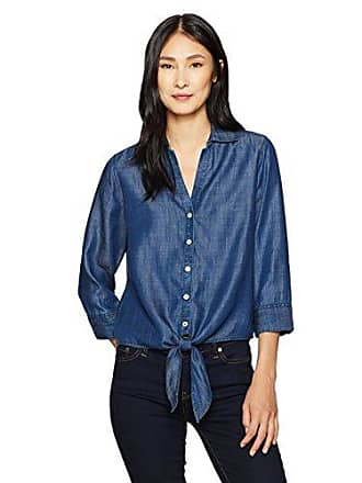 Foxcroft Womens Roma Solid Denim Tencel Blouse, Navy 4