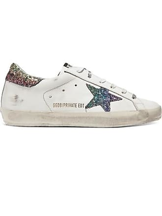 premium selection 47a72 62ea0 Golden Goose Baskets En Cuir Effet Vieilli À Paillettes Superstar - Blanc