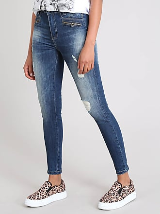 Sawary Calça Jeans Feminina Sawary Skinny Destroyed Azul Escuro
