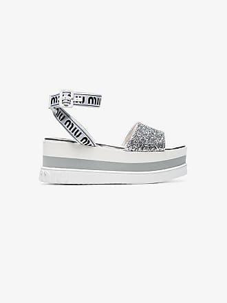e712ba24e4f Miu Miu white 75 glitter embellished logo strap leather flatform sandals