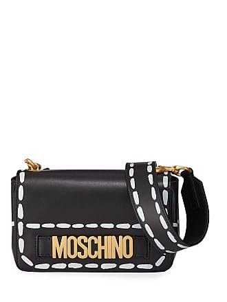 Moschino Leather Stitch-Print Small Crossbody Bag