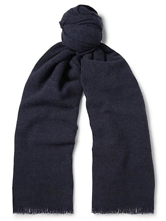 Begg & Co Beaufort Wool And Cashmere-blend Scarf - Midnight blue
