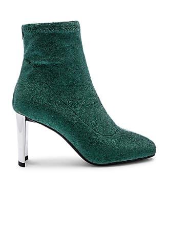 Lola Cruz Metallic Sock Bootie in Green