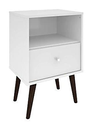 Manhattan Comfort Liberty Collection Mid Century Modern Nightstand With One Open Shelf and One Drawer, Splayed Legs, White