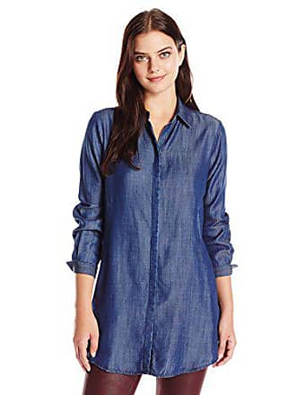 Foxcroft Womens Long Sleeve Cici Denim Tencel Tunic, Navy, 18