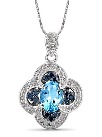 JewelersClub JewelersClub 1.60 Carat T.G.W. Blue Topaz Gemstone and 1/3 Carat T.W. Blue and White Diamond Sterling Silver Pendant