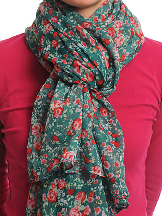 Liss Kiss Small Roses On Pine Green Unisex Scarf & Beach Sarong - Green Designer Scarf