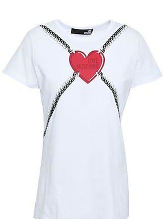 Love Moschino Love Moschino Woman Printed Cotton-jersey T-shirt White Size 38