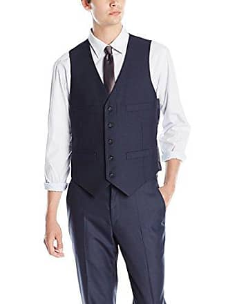 Kenneth Cole Reaction Mens Slim Fit Suit Separate Vest (Blazer, Pant, and Vest), Blue, Large