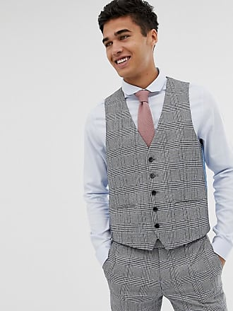 Moss Bros. Moss London skinny suit vest with check boucle - Gray