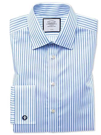 0faf9b206874 CHARLES TYRWHITT Bügelfreies Slim Fit Twill-Hemd in Weiß und Himmelblau mit  Streifen Knopfmanschette