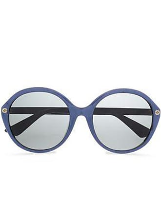 73994f213af Gucci Gucci Woman Round-frame Printed Acetate Sunglasses Royal Blue Size