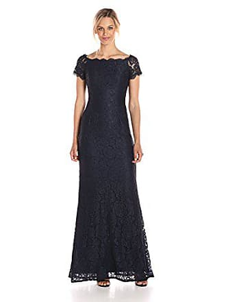 Adrianna Papell Womens Off The Shoulder Lace Gown, Midnght, 16