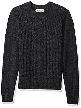 Original Penguin Mens Fishermans Cable Crew Sweater, Dark Charcoal Heather, Small