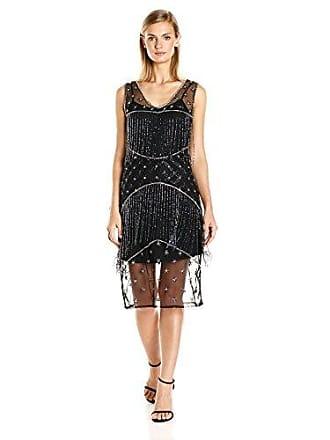 Unique Vintage Womens Illusion Beaded Fringe Flapper Dress, Black Gunite, L