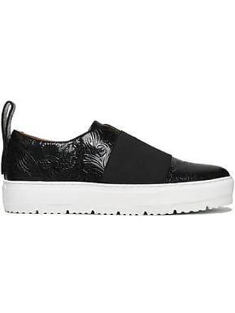 Jil Sander Jil Sander Navy Woman Elastic-paneled Embossed Leather Slip-on Sneakers Black Size 35