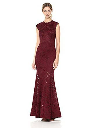 c7d61fbc265f1 Betsy & Adam Womens Long Open Back Mermaid lace Dress, Wine, ...