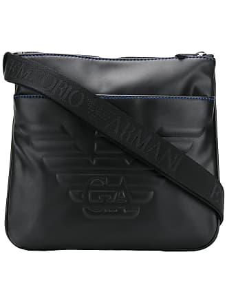 cdba62cb7408 Emporio Armani embossed logo messenger bag - Black