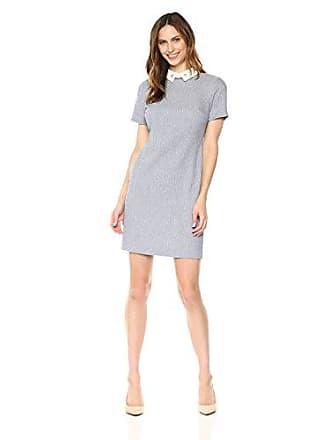 Ivanka Trump Womens Knit Short Sleeve Collar Shirt Dress, Blue/Ivory 8