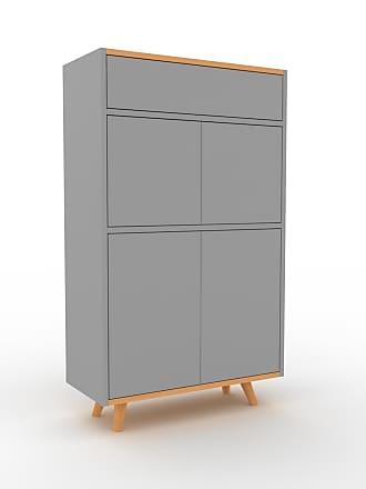 MYCS Kommode Grau - Lowboard: Schubladen in Grau & Türen in Grau - Hochwertige Materialien - 77 x 130 x 35 cm, konfigurierbar