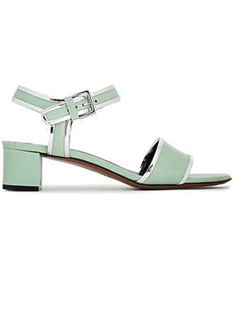 Marni Marni Woman Metallic-trimmed Leather Sandals Light Green Size 38.5