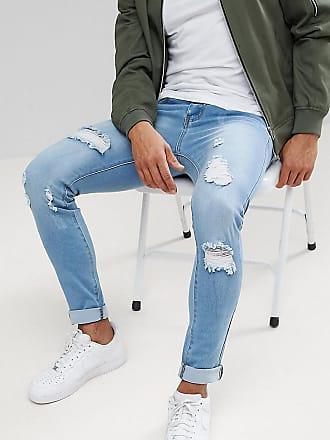 Liquor & Poker skinny extreme rips jeans in light stonewash - Blue