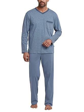 81f0c17aa8cc5c Schiesser Mens Schlafanzug Lang Pyjama Set, Blue (Indigo 824), Small (Size
