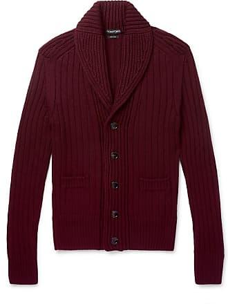 Tom Ford Slim-fit Shawl-collar Ribbed Wool Cardigan - Burgundy