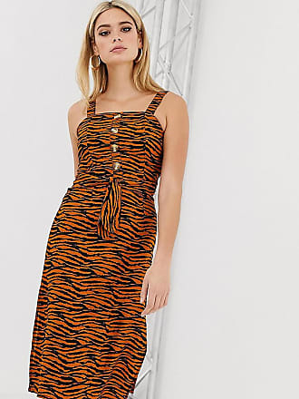 c79443cfd0 Missguided Tall midi dress with square neck in tiger print