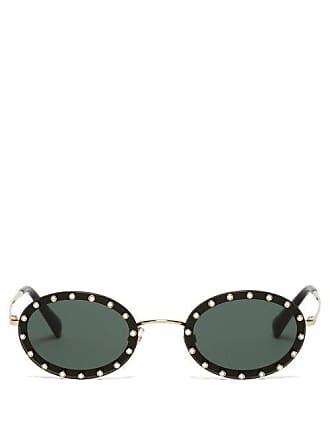 Valentino Crystal Embellished Oval Frame Sunglasses - Womens - Black Silver