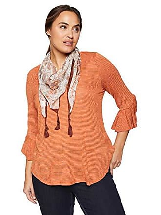 Oneworld Womens Plus Size 3/4 Sleeve Stripe Top with Tassel Scarf, Mandarin, 2X