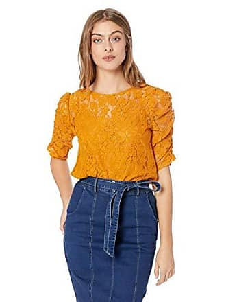 6ee971be203321 Nanette Lepore Womens Elbow Puff Sleeve Flora Re-Emb Lace Top, Medieval  Gold,
