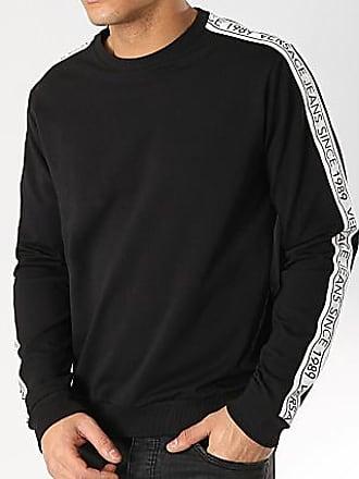 897a56c8053c Versace Jeans Couture Sweat Crewneck Avec Bandes Logo Tape B7GTB7F9-13850  Noir Blanc