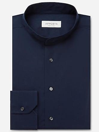 Apposta Camicia tinta unita blu 100% puro cotone popeline, collo stile coreano senza bottone